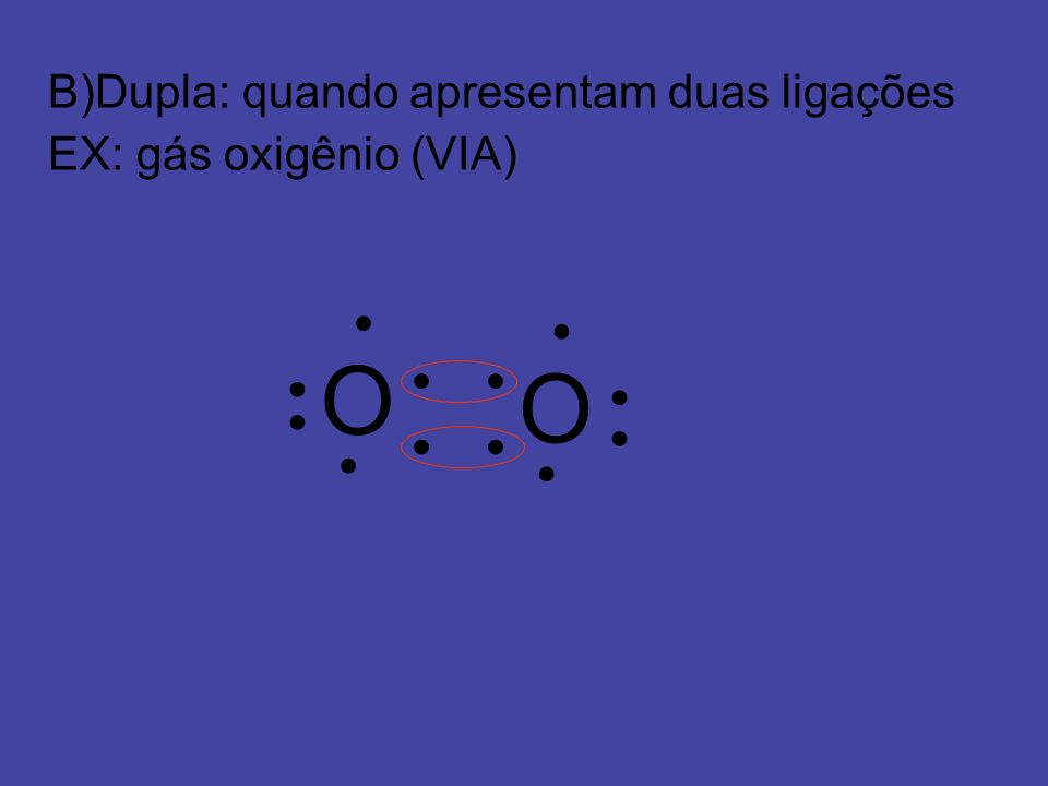O O B)Dupla: quando apresentam duas ligações EX: gás oxigênio (VIA) ●