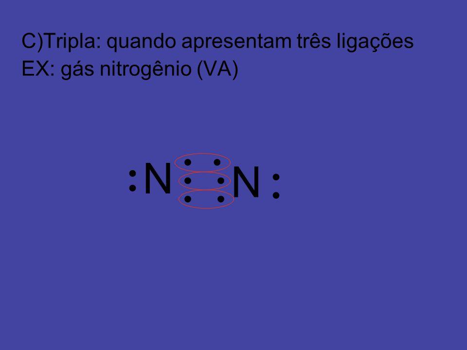 N N C)Tripla: quando apresentam três ligações EX: gás nitrogênio (VA)
