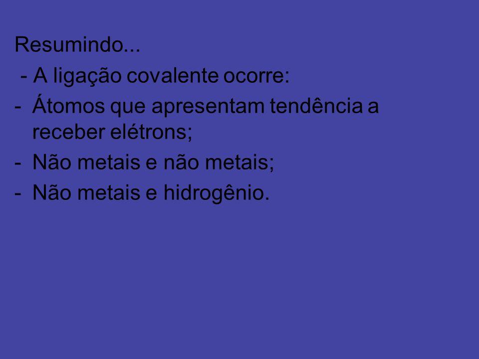 Resumindo...- A ligação covalente ocorre: Átomos que apresentam tendência a receber elétrons; Não metais e não metais;