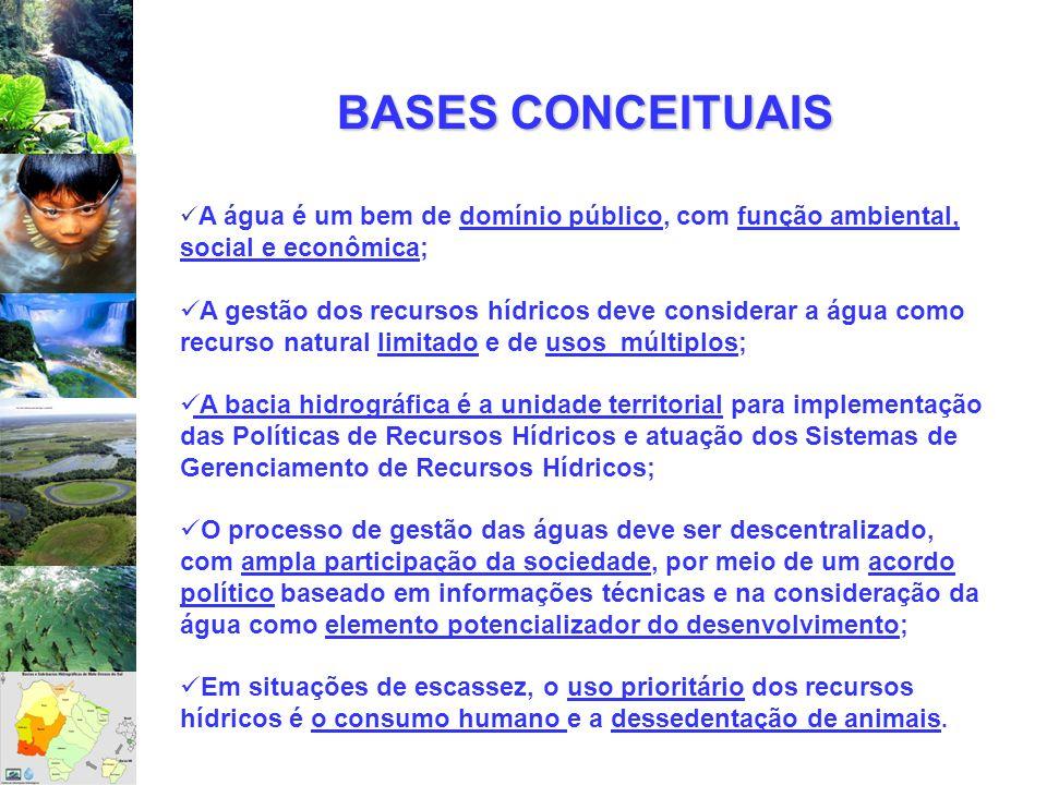 BASES CONCEITUAISA água é um bem de domínio público, com função ambiental, social e econômica;