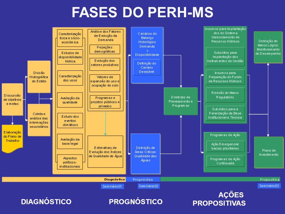 FASES DO PERH-MS AÇÕES PROPOSITIVAS DIAGNÓSTICO PROGNÓSTICO