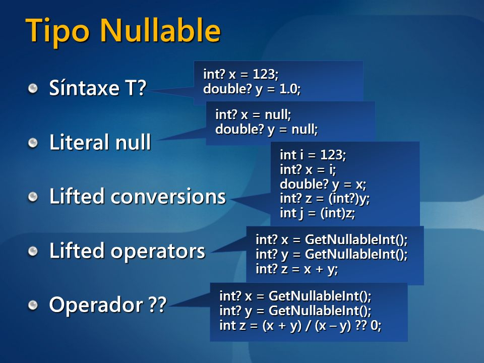 Tipo Nullable Síntaxe T Literal null Lifted conversions