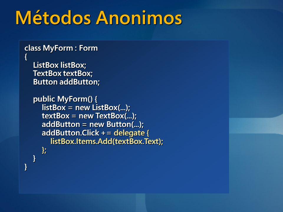 Métodos Anonimos class MyForm : Form { ListBox listBox;