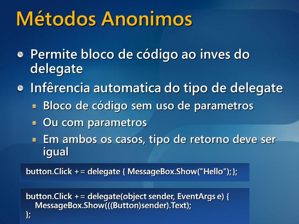 Métodos Anonimos Permite bloco de código ao inves do delegate
