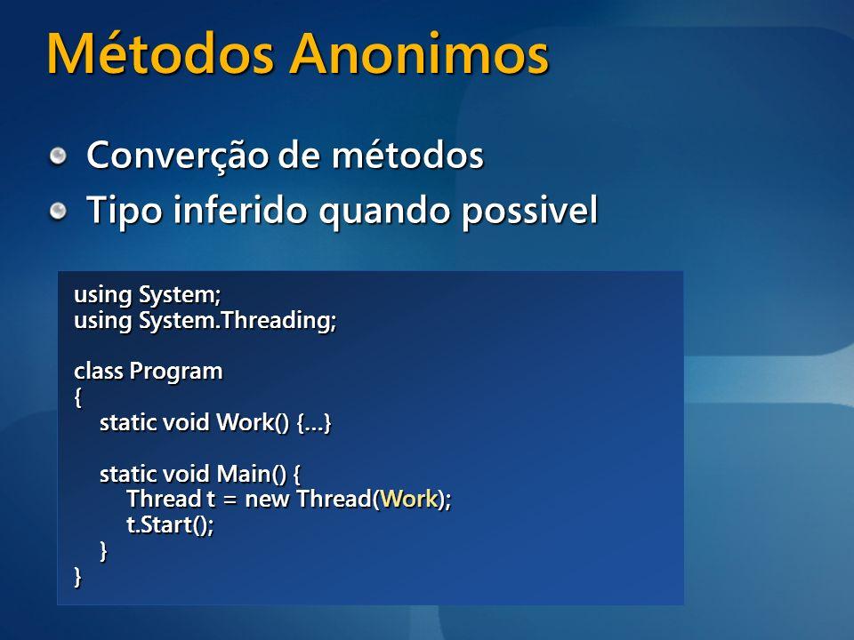 Métodos Anonimos Converção de métodos Tipo inferido quando possivel