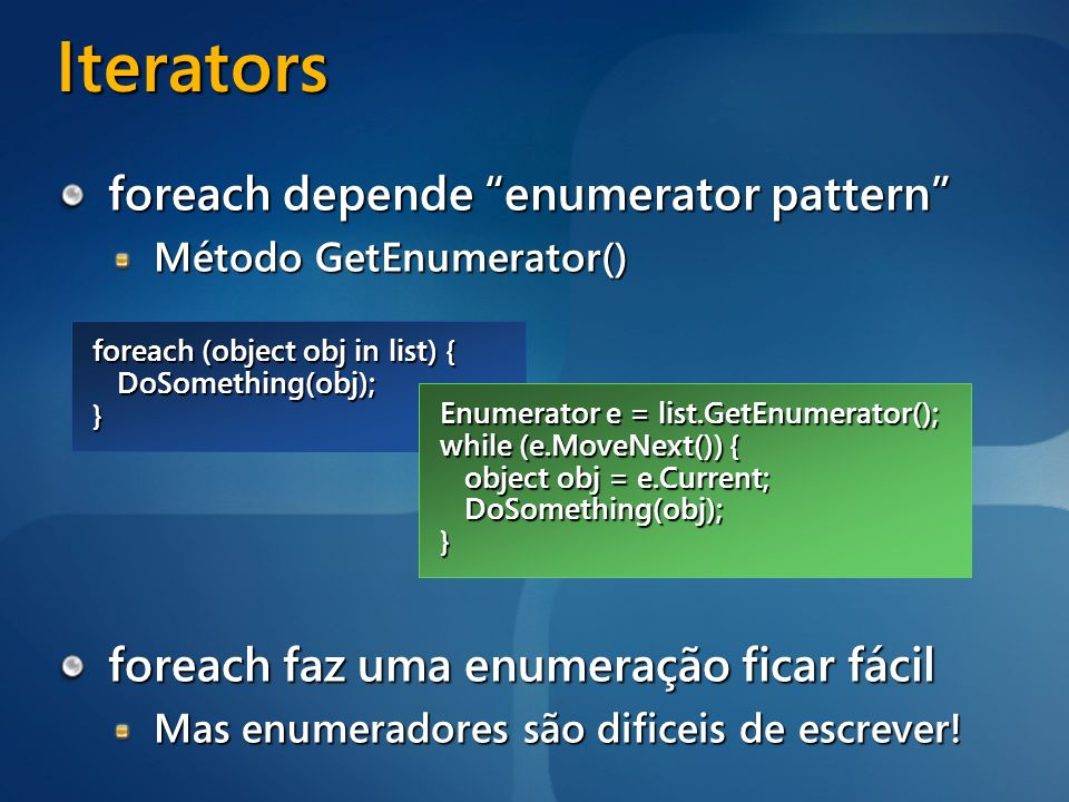 Iterators foreach depende enumerator pattern
