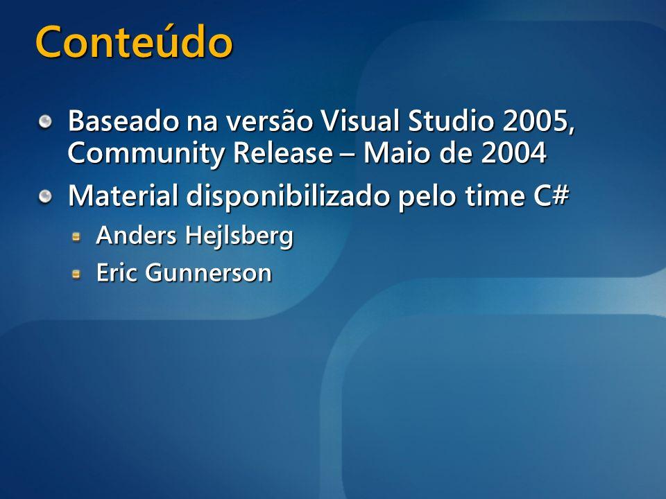 3/24/2017 12:27 AM Conteúdo. Baseado na versão Visual Studio 2005, Community Release – Maio de 2004.