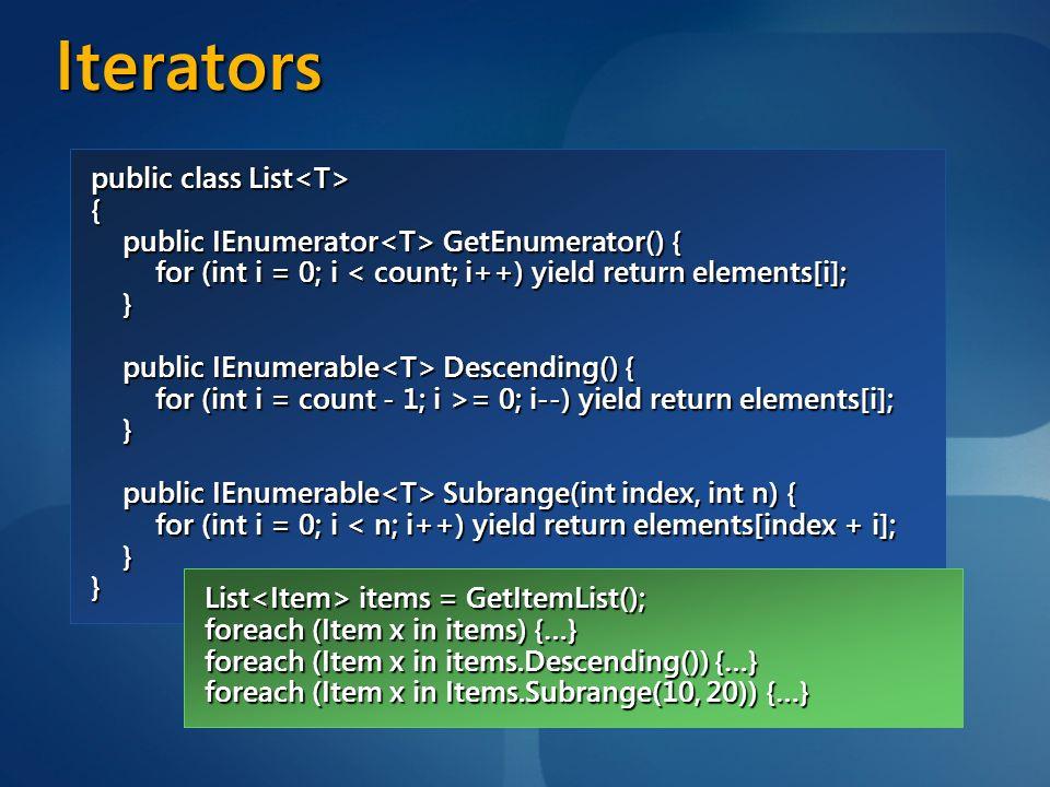 Iterators public class List<T> {