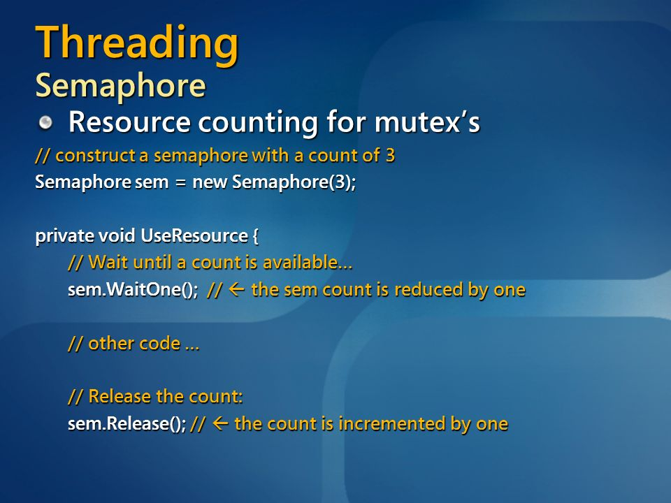 Threading Semaphore Resource counting for mutex's