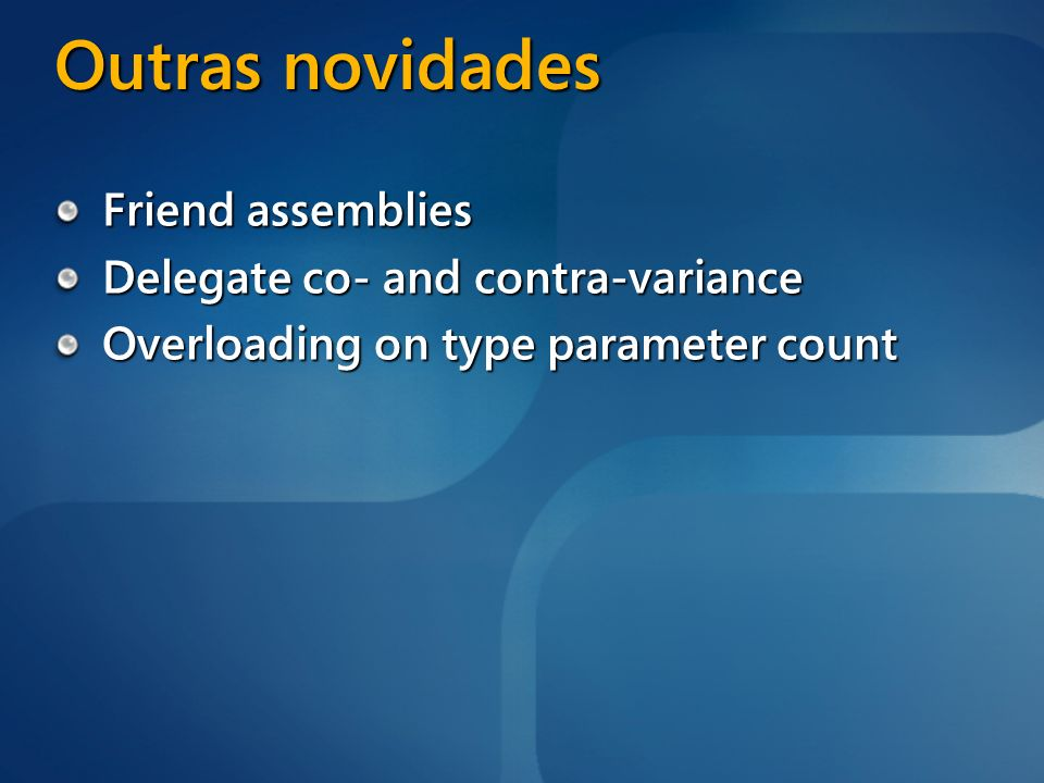 Outras novidades Friend assemblies Delegate co- and contra-variance