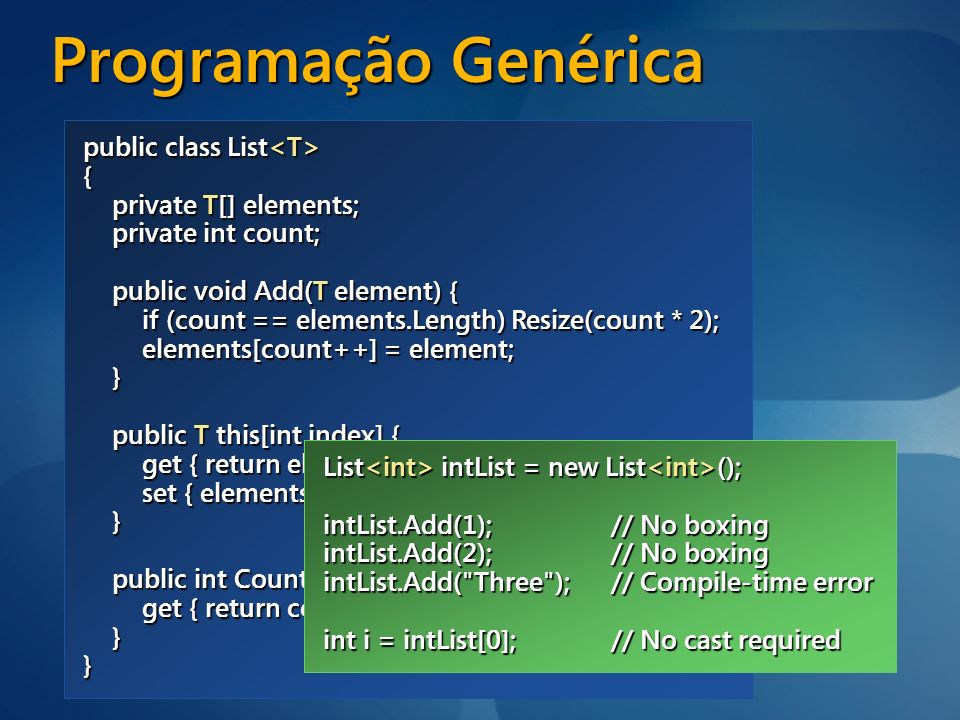 Programação Genérica public class List { private object[] elements;