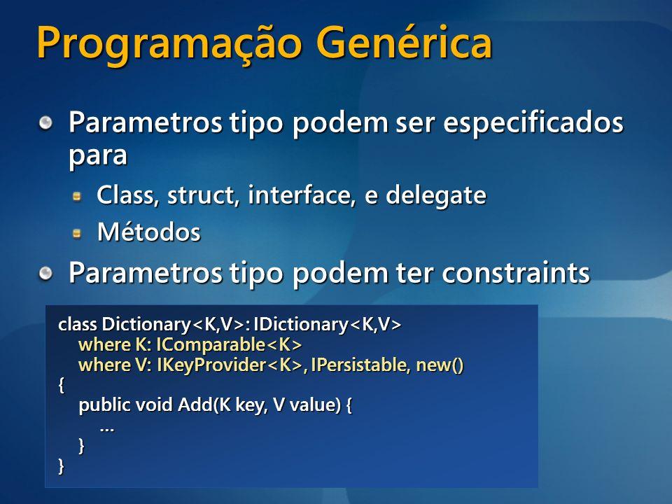 Programação Genérica Parametros tipo podem ser especificados para