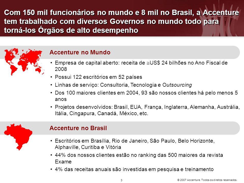 Com 150 mil funcionários no mundo e 8 mil no Brasil, a Accenture tem trabalhado com diversos Governos no mundo todo para torná-los Órgãos de alto desempenho