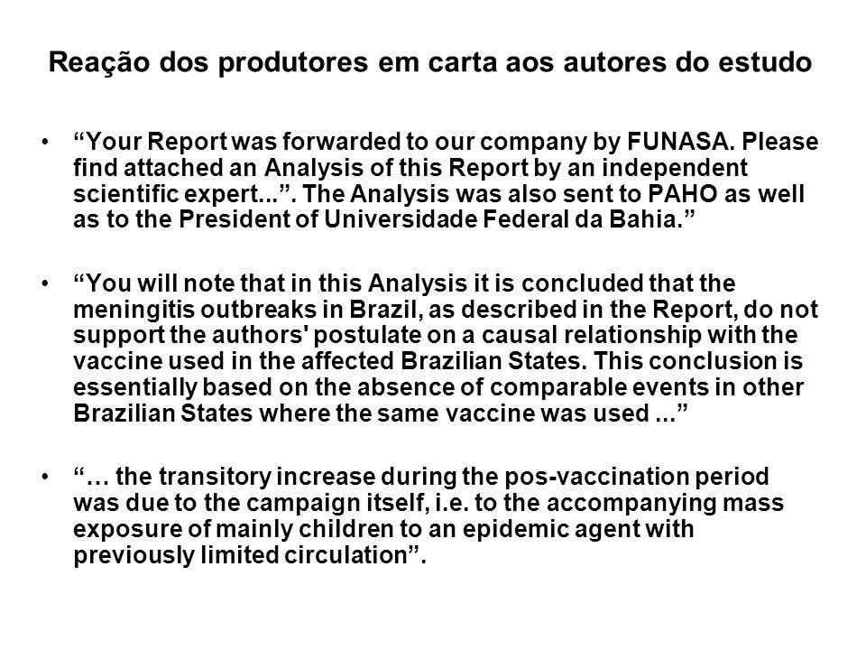 Reação dos produtores em carta aos autores do estudo