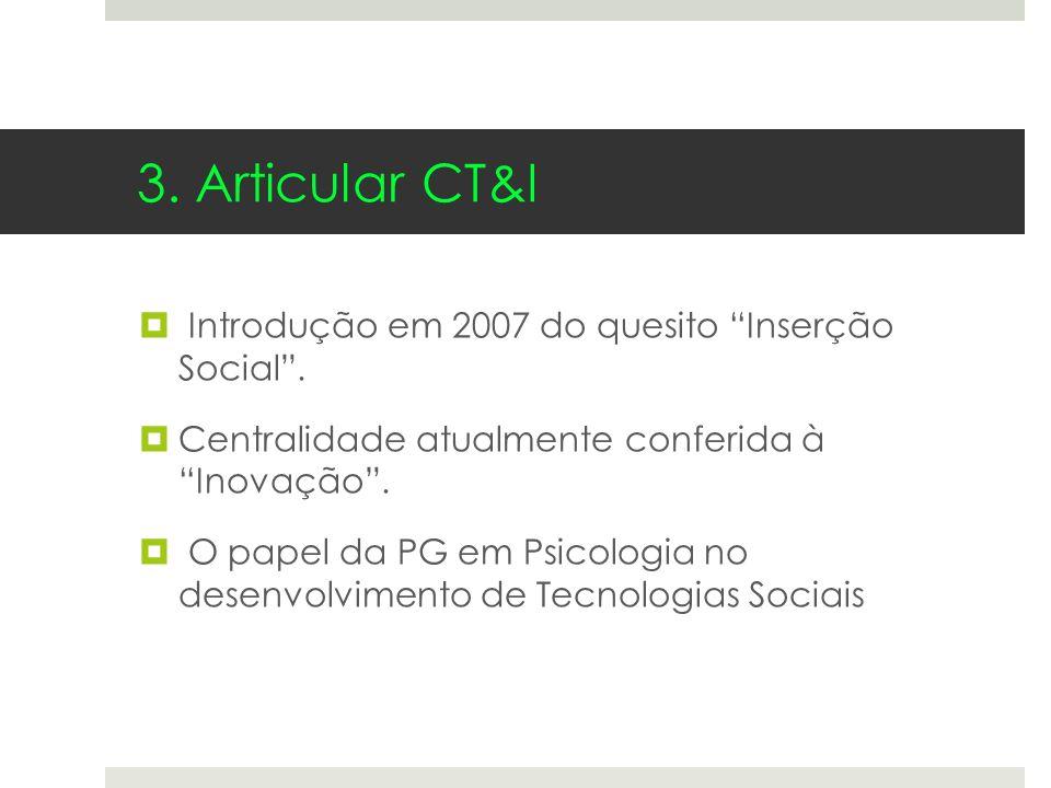 3. Articular CT&I Introdução em 2007 do quesito Inserção Social .