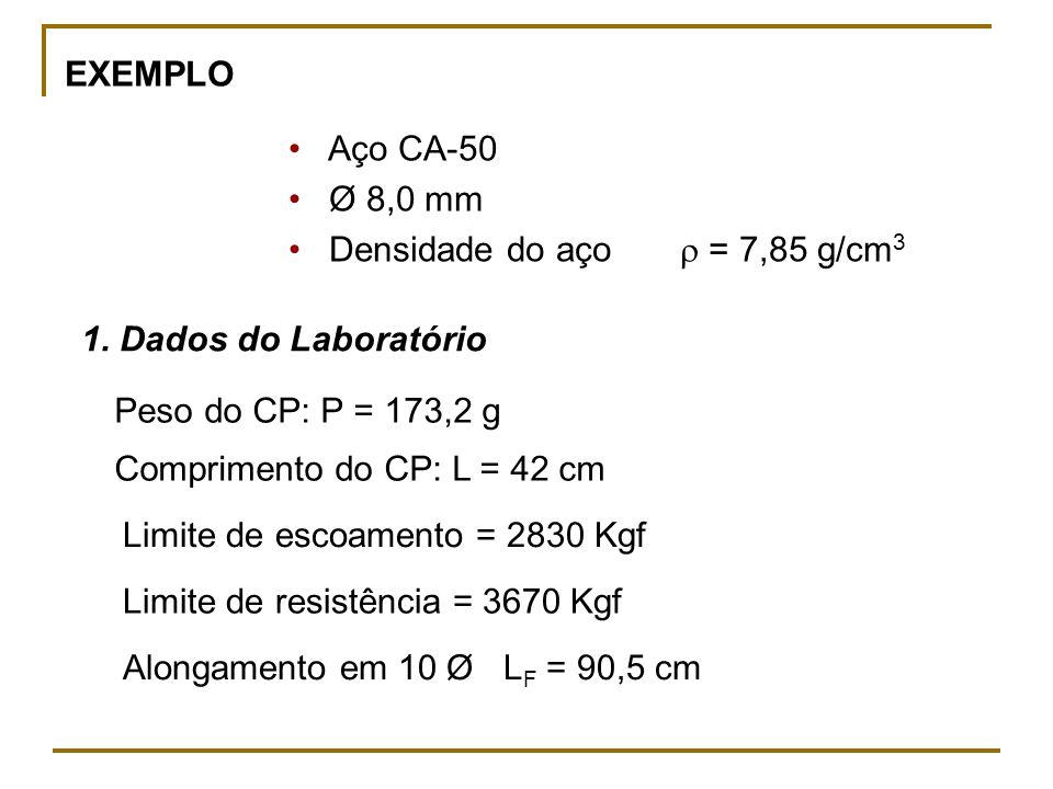 EXEMPLO • Aço CA-50. • Ø 8,0 mm. • Densidade do aço  = 7,85 g/cm3. 1. Dados do Laboratório.
