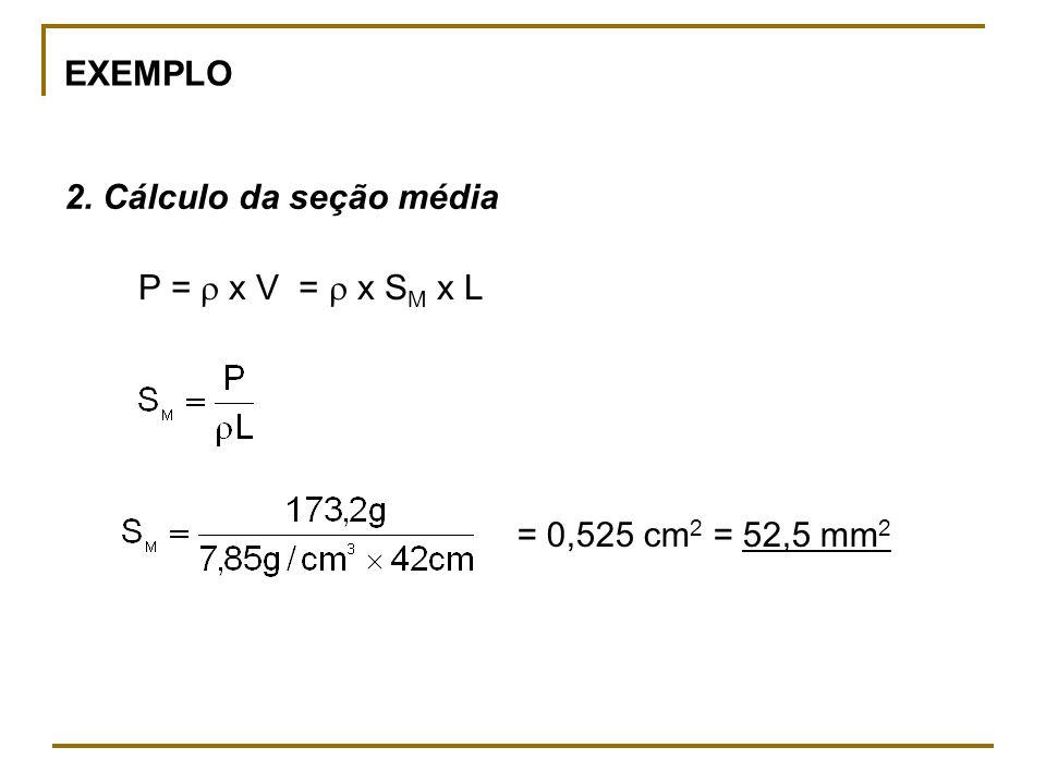 EXEMPLO 2. Cálculo da seção média P =  x V =  x SM x L = 0,525 cm2 = 52,5 mm2