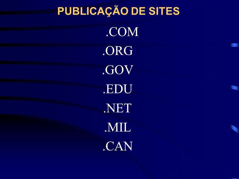 PUBLICAÇÃO DE SITES .COM .ORG .GOV .EDU .NET .MIL .CAN