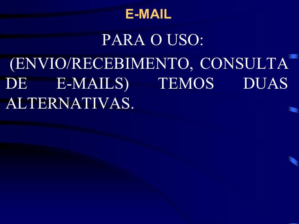 (ENVIO/RECEBIMENTO, CONSULTA DE E-MAILS) TEMOS DUAS ALTERNATIVAS.