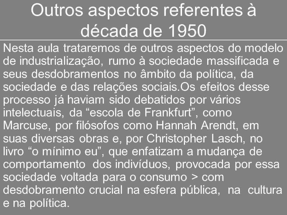 Outros aspectos referentes à década de 1950