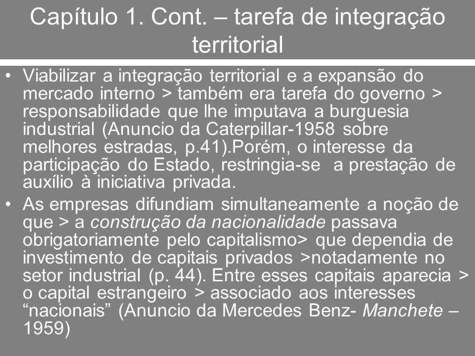 Capítulo 1. Cont. – tarefa de integração territorial