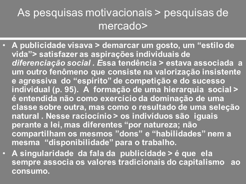 As pesquisas motivacionais > pesquisas de mercado>