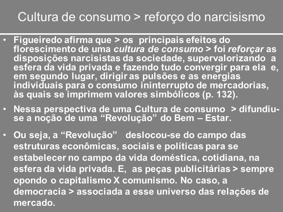 Cultura de consumo > reforço do narcisismo
