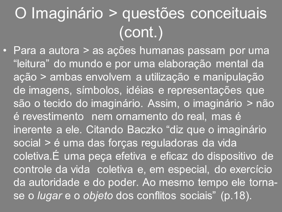 O Imaginário > questões conceituais (cont.)