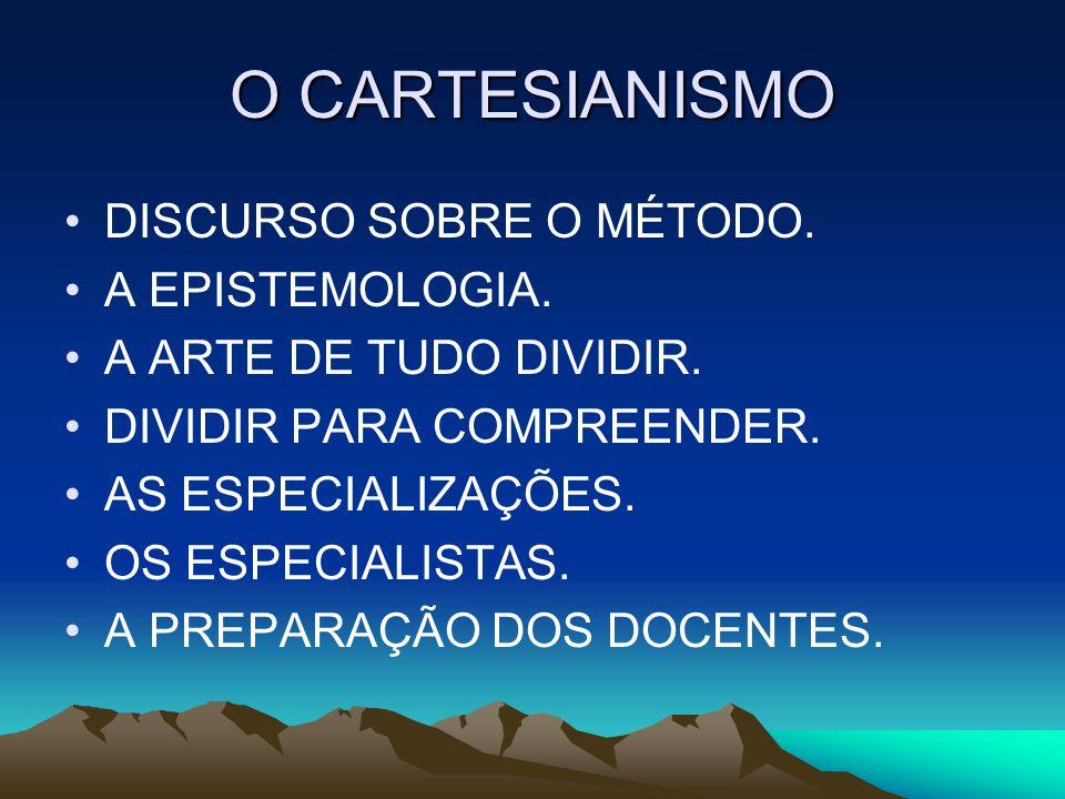 O CARTESIANISMO DISCURSO SOBRE O MÉTODO. A EPISTEMOLOGIA.