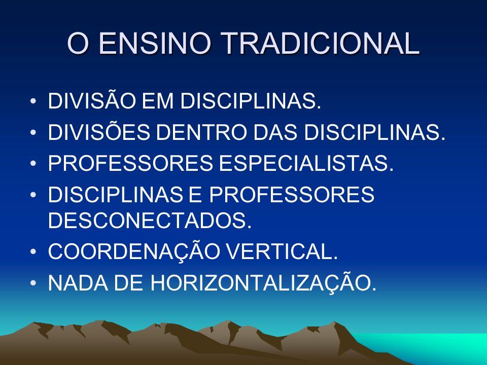 O ENSINO TRADICIONAL DIVISÃO EM DISCIPLINAS.