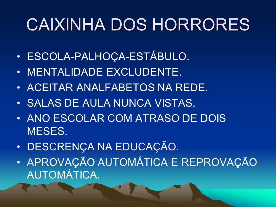 CAIXINHA DOS HORRORES ESCOLA-PALHOÇA-ESTÁBULO. MENTALIDADE EXCLUDENTE.