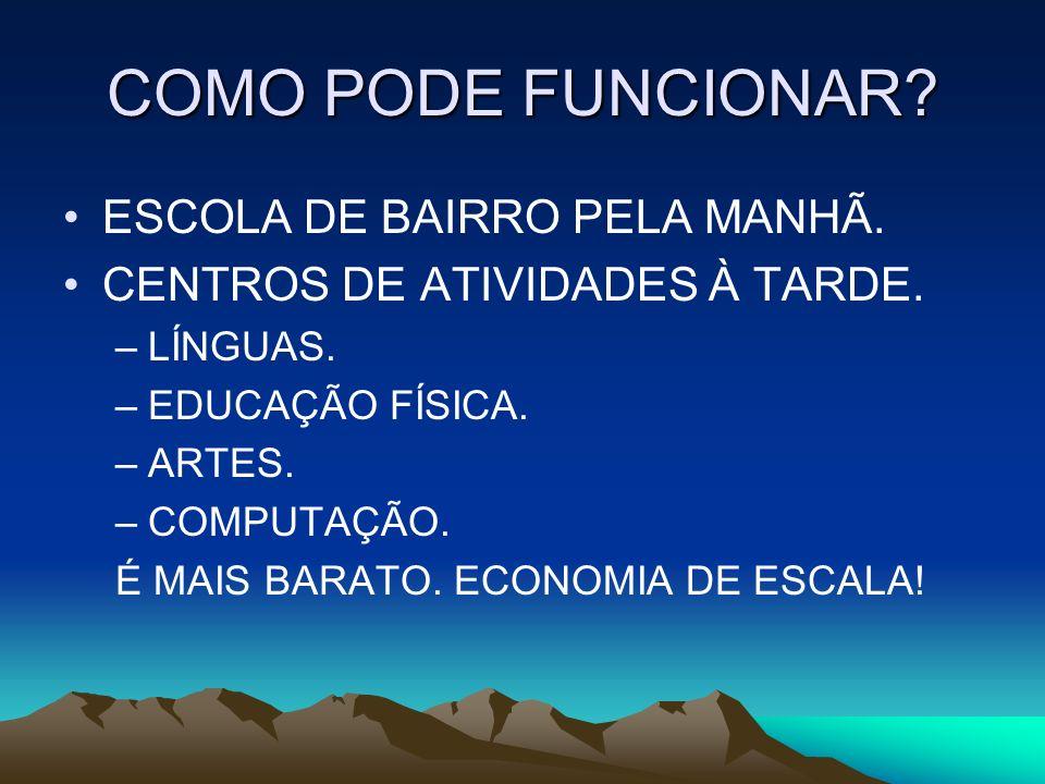 COMO PODE FUNCIONAR ESCOLA DE BAIRRO PELA MANHÃ.