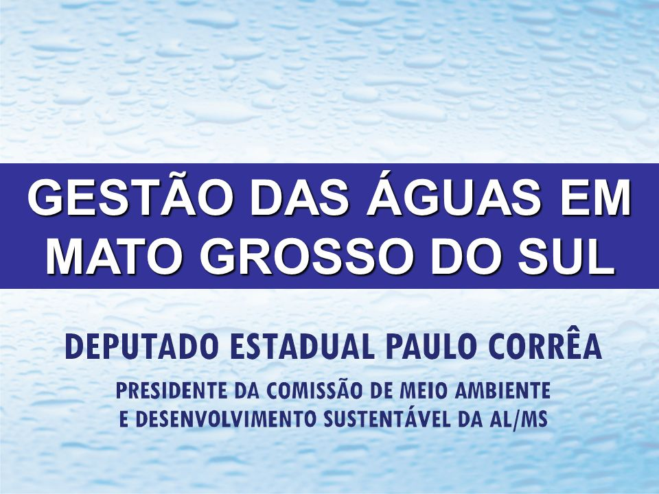 GESTÃO DAS ÁGUAS EM MATO GROSSO DO SUL