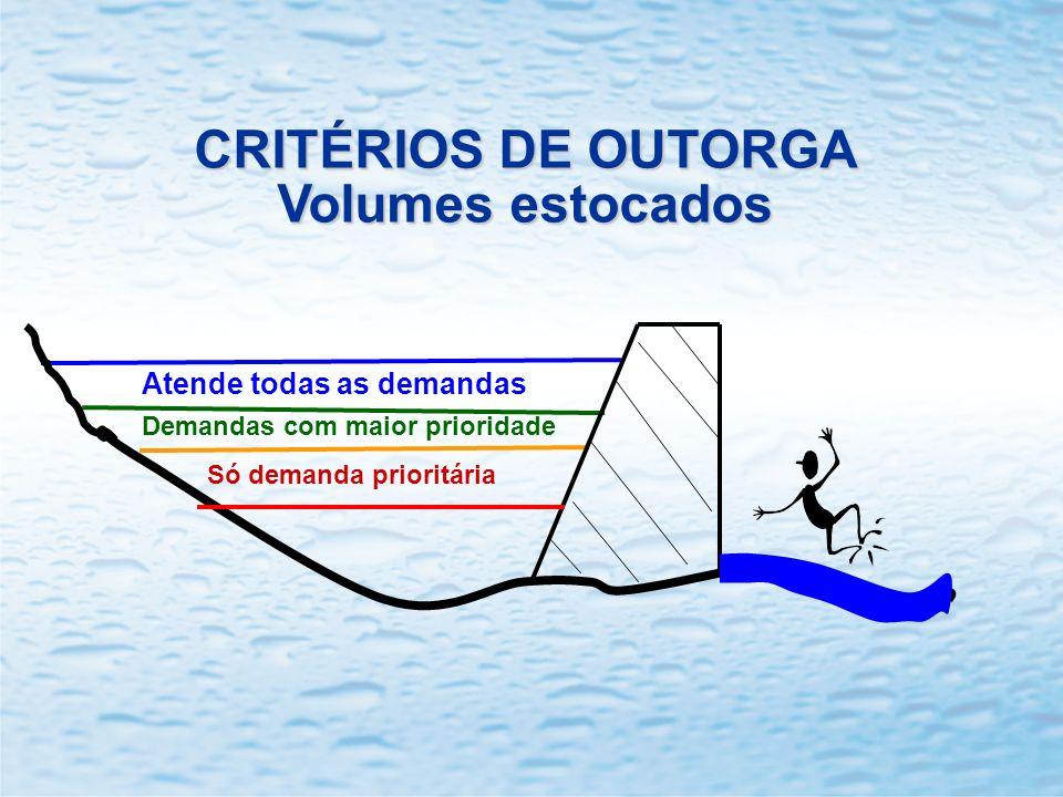 CRITÉRIOS DE OUTORGA Volumes estocados