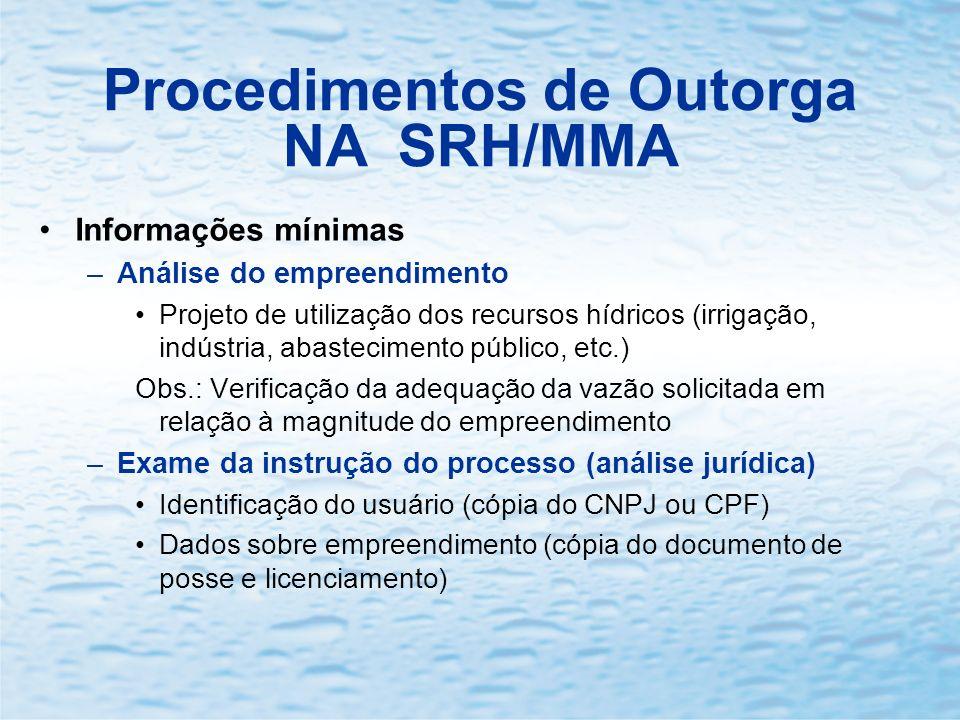 Procedimentos de Outorga NA SRH/MMA