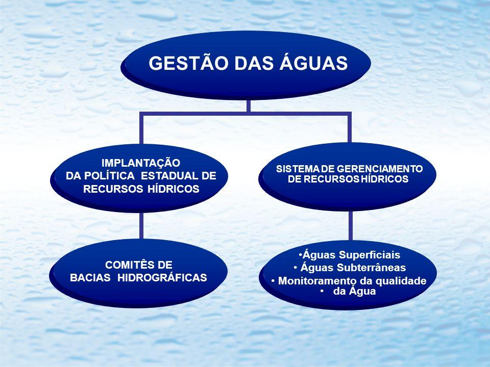GESTÃO DAS ÁGUAS IMPLANTAÇÃO DA POLÍTICA ESTADUAL DE RECURSOS HÍDRICOS