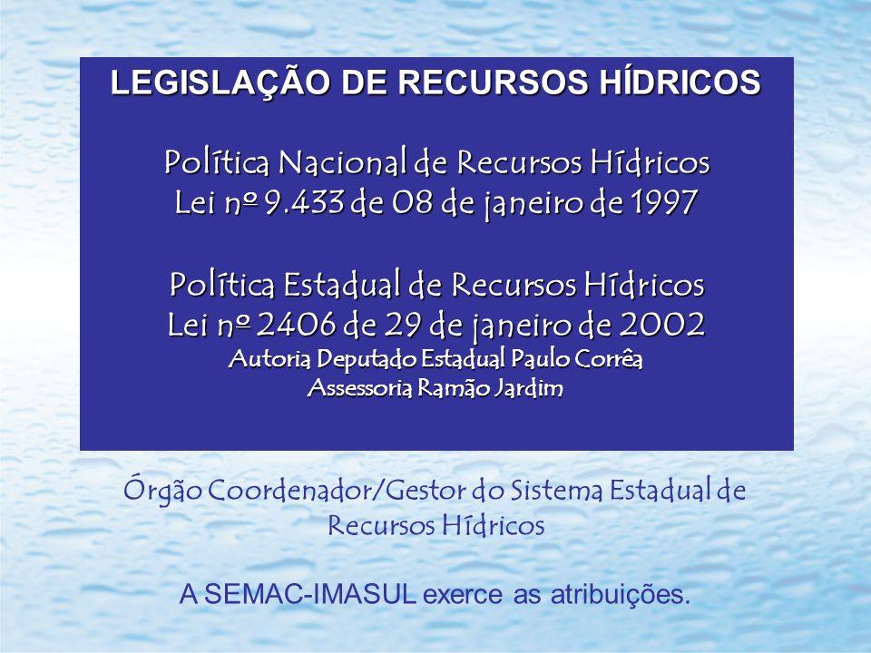 LEGISLAÇÃO DE RECURSOS HÍDRICOS Política Nacional de Recursos Hídricos