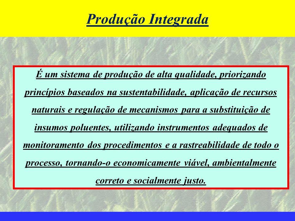 Produção Integrada É um sistema de produção de alta qualidade, priorizando. princípios baseados na sustentabilidade, aplicação de recursos.