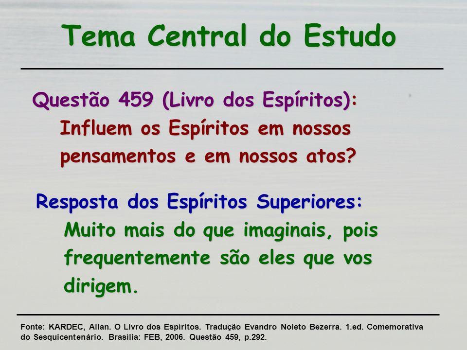 Tema Central do Estudo Questão 459 (Livro dos Espíritos): Influem os Espíritos em nossos pensamentos e em nossos atos