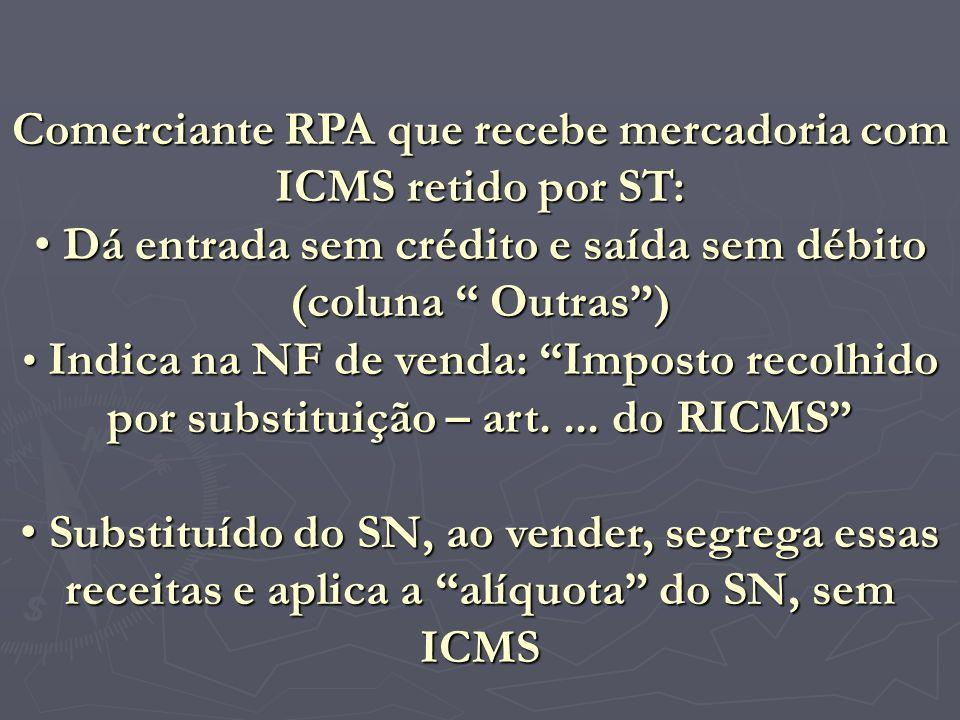 Comerciante RPA que recebe mercadoria com ICMS retido por ST: