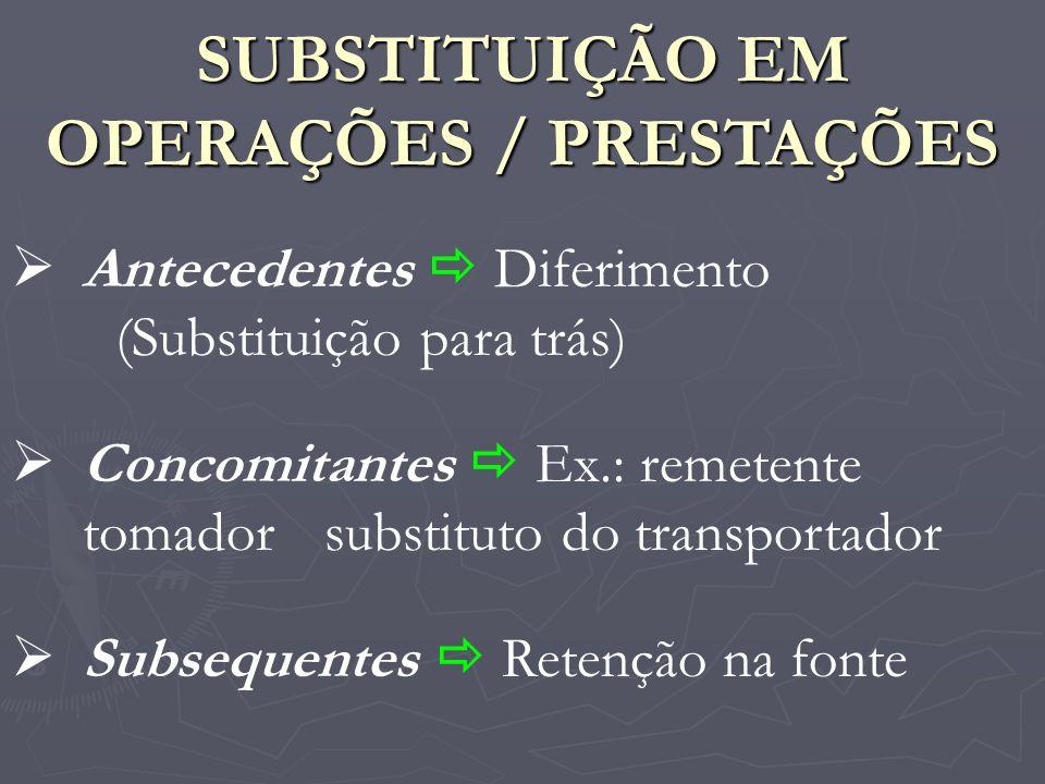 SUBSTITUIÇÃO EM OPERAÇÕES / PRESTAÇÕES