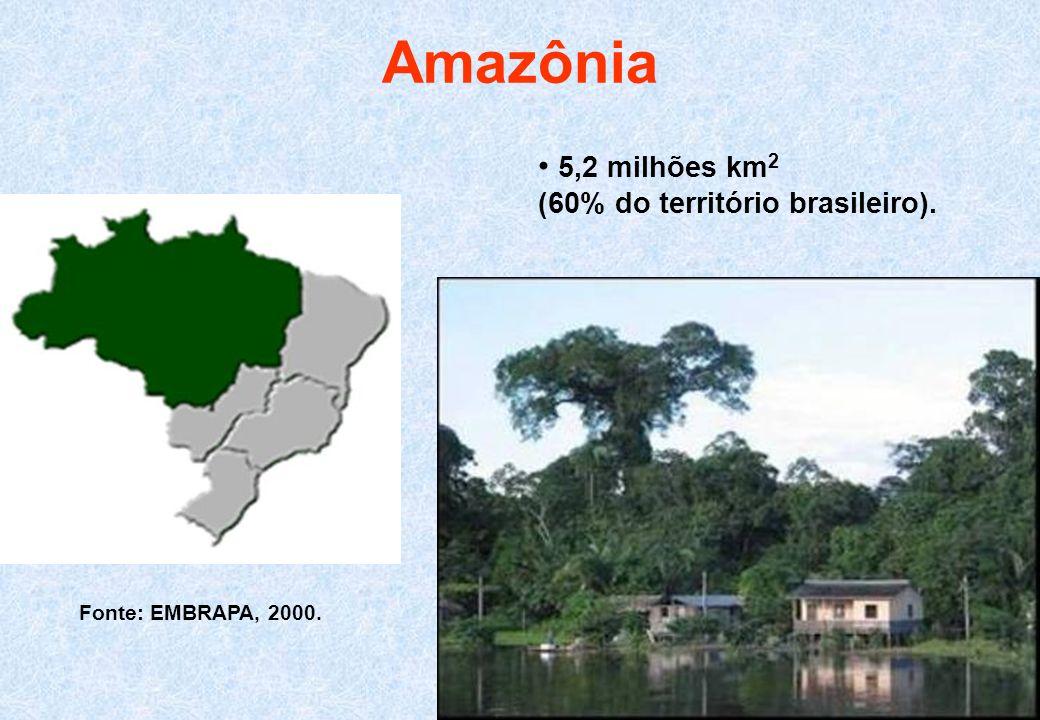 Amazônia • 5,2 milhões km2 (60% do território brasileiro).