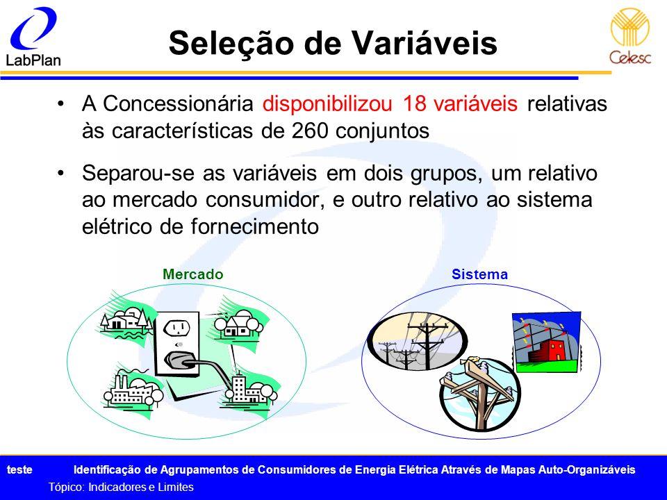 Seleção de VariáveisA Concessionária disponibilizou 18 variáveis relativas às características de 260 conjuntos.