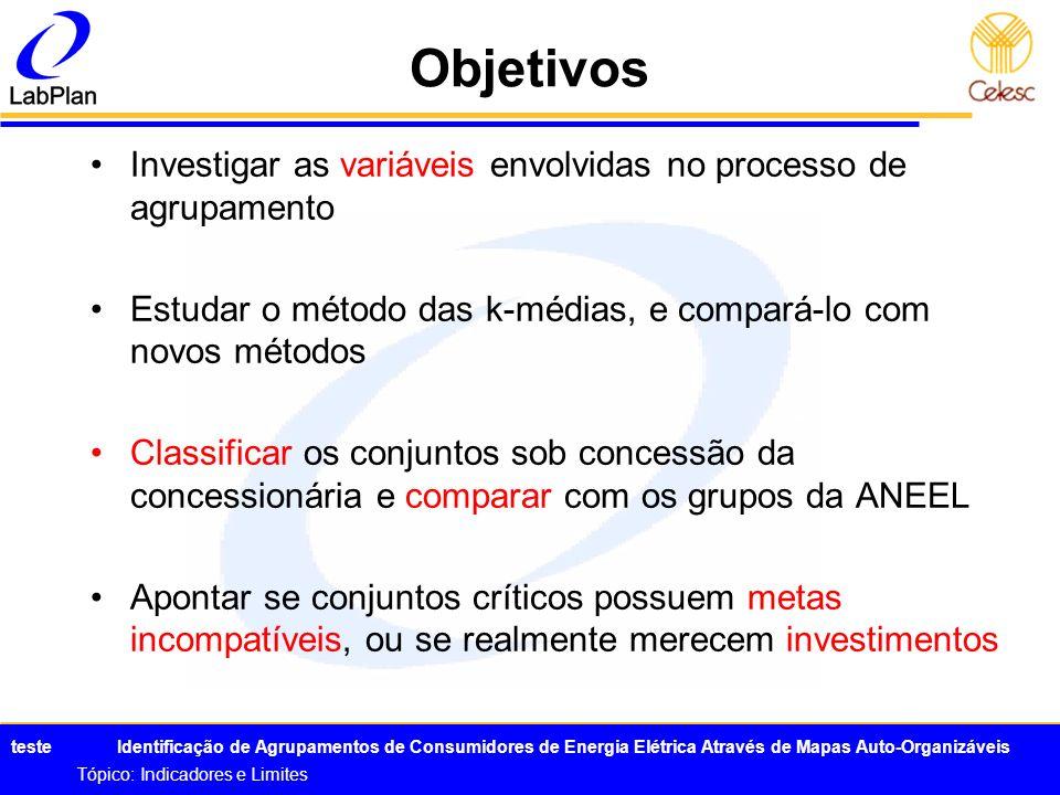 Objetivos Investigar as variáveis envolvidas no processo de agrupamento. Estudar o método das k-médias, e compará-lo com novos métodos.