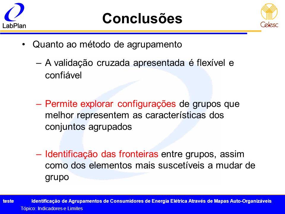 Conclusões Quanto ao método de agrupamento
