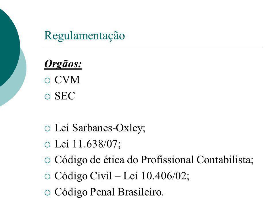 Regulamentação Orgãos: CVM SEC Lei Sarbanes-Oxley; Lei 11.638/07;