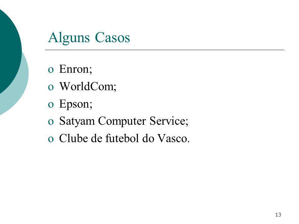 Alguns Casos Enron; WorldCom; Epson; Satyam Computer Service;