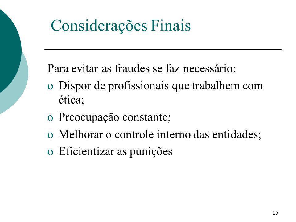 Considerações Finais Para evitar as fraudes se faz necessário: