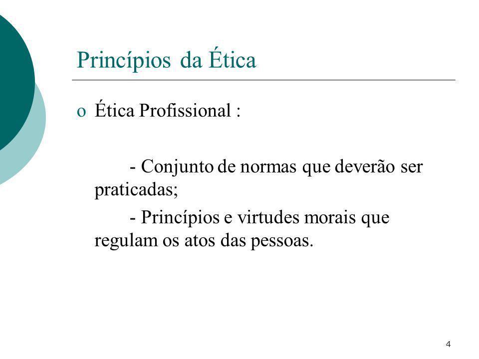 Princípios da Ética Ética Profissional :
