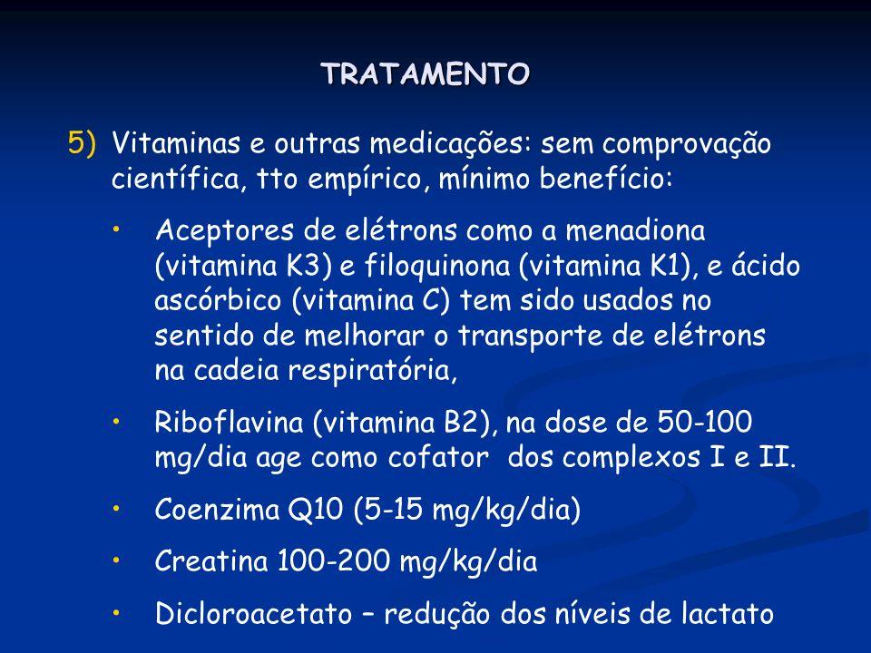 TRATAMENTO Vitaminas e outras medicações: sem comprovação científica, tto empírico, mínimo benefício:
